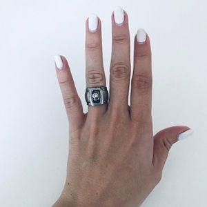 Jewelry - Silver Band Ring with white stone